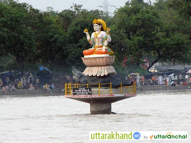 Goddess Ganga statue in the middle of River Ganges