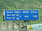 Distance to Pindari Glacier, Chaukori and Almora from Bageshwar